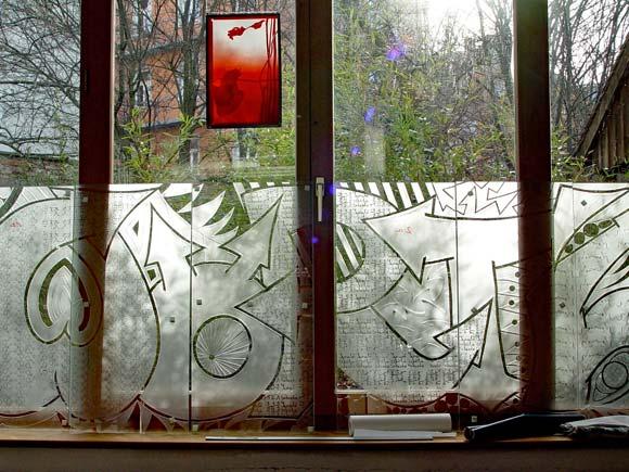 Eva Sperner Schulprojekt Wörthstr - Graffiti Fenster