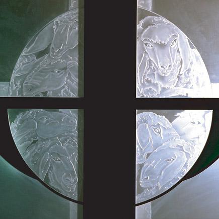St-Anna-Caritas-Haus Themenmedaillon satiniertes Floatglas