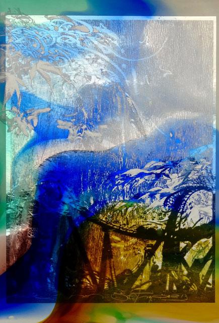 Buntes Reisetagebuch aus Glas